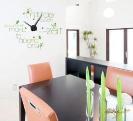 Wandtattoo Uhr Wanduhr Küche und Esszimmer Mahlzeit (Uhr Silber/Aufkleber Braun)