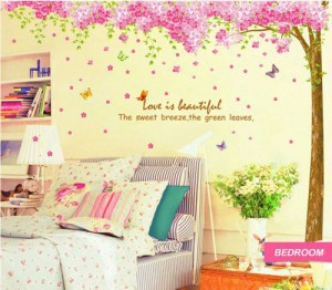"WallStickersDecal PVC Wandtattoos Romantisch Riesige Sakura Blume Cherry Blossom Kirschblüte Tree Wall Sticker Decal 90 ""* 90"""