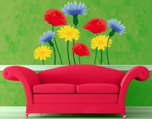 Wandtattoo mehrfarbig No.IS54 Sommerblumen, Größe:60x60cm