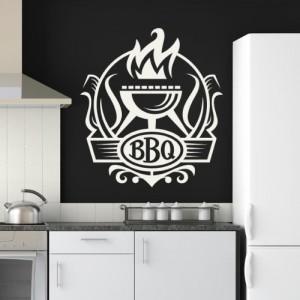 Grill Badge Wandaufkleber Wandtattoo Küche Kunst erhältlich in 5 Größen und 25 Farben