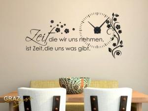 Wandtattoo Uhr Wanduhr mit Uhrwerk Zitat Zeit Wohnzimmer Blume (Uhr=Schwarz//Aufkleber=Schwarz)