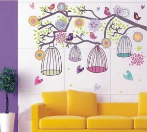 Blumen & Vogelbauer Wandtattoo Kinderzimmer Schlafzimmer Wohnzimmer AY993