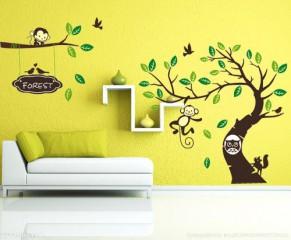 WallStickersDecal® Dschungel Wald Tier Affe auf bunten Baum Wandtattoo Wandaufkleber 170cm(H)*340cm(W)