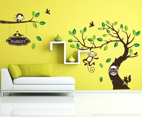 wallstickersdecal dschungel wald tier affe auf bunten baum wandtattoo wandaufkleber 170cm h. Black Bedroom Furniture Sets. Home Design Ideas