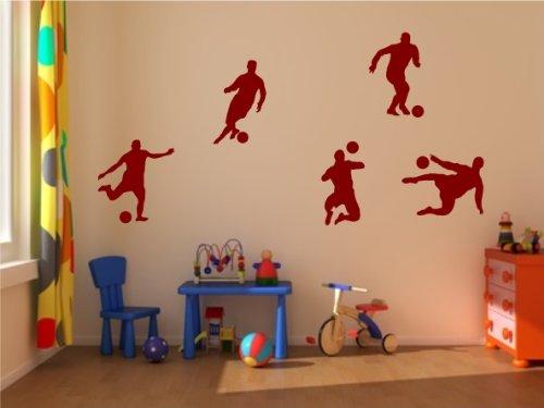 5er Set Fussballer Wandtattoo Kinderzimmer Fussball Wandaufkleber Sticker Dekoration verschiedene Farben wählbar