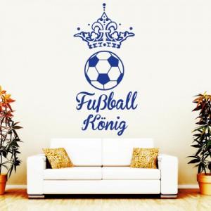Wandtattoo: Fußball König / 49 Farben / 4 Größen / enzianblau / 55 x 113 cm