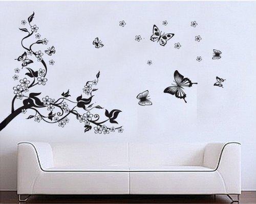 PVC Wandtattoos Romantisch Sakura Plum Blume Kirsche Kirschblüte Schmetterling Baum Wandaufkleber Decal