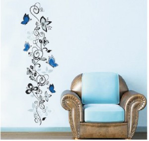 Blansdi Wandsticker Wandtattoo Schwarz Blau elegant Blume Reben Wandaufkleber Wandaufkleber nach Europa exportiert Wandaufkleber