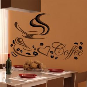 Wandtattoo Küche Kaffee Tasse Coffee Cafe Spruch Wandaufkleber Herz farbig Mokka, Größe:M;Motive:Design Nr.2