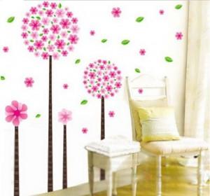 Rosa Löwenzahn Blumen Baum romantische Wandtattoo Kinderzimmer Schlafzimmer Wohnzimmer Gr.60x40cm