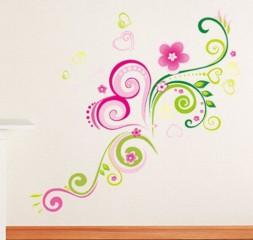 Wandtattoo elegant Blume Reben mit Herz CHINESE_BLUME für Sofa im Wohnzimmer TV Wand Schlafzimmer