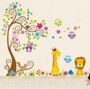 dschungel zoo eulen auf baum mit giraffe und l we unter f r kinder kinderzimmer wandsticker. Black Bedroom Furniture Sets. Home Design Ideas