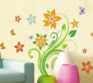 Wandaufkleber Bunte Blumen Pflanze Schmetterling Wandsticker Wandtattoo für Sofa Wohnzimmer Schlafzimmer kinderzimmer mädchen TV Wandsticker