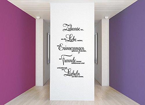 Grandora W1124 Wandtattoo Spruch Zuhause ist wo die Liebe wohnt.. schwarz 58 x 107 cm