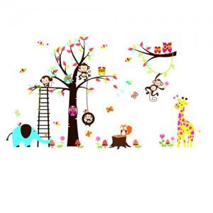 Rainbow Fox Eule und Eichhörnchen Affe Giraffen Spielen auf bunten Baum Wandtattoo Wandaufkleber