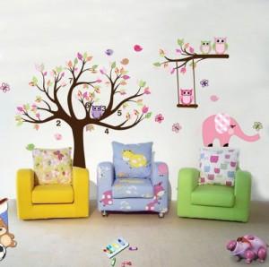 Traumhaft schönes Eule & Baum Wandtattoo / Eulenbaum Wandsticker H:1,42m x B:2,00m