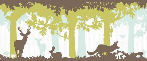 Livingwalls Bordüre Fairyland, Tiere im Wald, blau, braun, grün ...