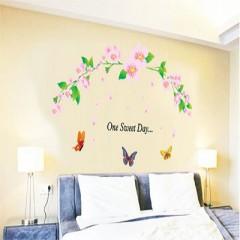 """SmartLegend Abnehmbare Wandsticker Wandtattoo Größe: 90cm*60cm Fashion Home-Dekoration-Aufkleber Blume Rebe Rosa """"One Sweet Day"""""""
