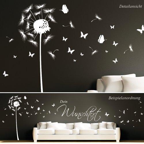 Wandtattoo: Pusteblume Schmetterling mit Wunschtext / 49 Farben / 3 Größen / weiß / 114 x 359 cm