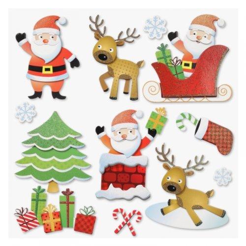 Stickerkoenig Wandtattoo 3D Sticker für Kinderzimmer XXL Set - Weihnachten, Weihnachtsmann, Nikolaus Weihnachtsdeko auch Fenster, Türen, Schränke etc