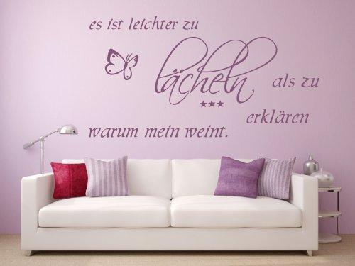 Wandtattoo 68177-58x28 cm, Zitat ~ Es ist leichter zu lächeln als zu erklären warum man weint ~ Wandaufkleber Aufkleber für die Wand, Tapetensticker aus Markenfolie, 32 Farben wählbar