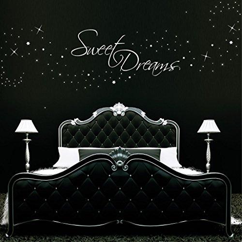 """Wandtattoo Loft Schriftzug """"Sweet dreams"""" und 200 leuchtende Sterne (als Punkte dargestellt)"""" phosphoreszierend/ fluoreszierend (leuchten im Dunkeln)"""