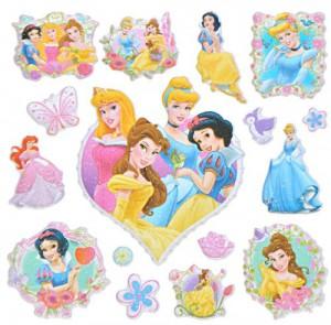 16 Stk. 3-D Sticker - Disney Princess - Aufkleber für Textilien Stoff Metall Papier - für Kinder Kind Prinzessin