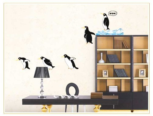"Wandtattoo Wandsticker Wanddekoration Wandaufkleber ""spielende Pinguine"""
