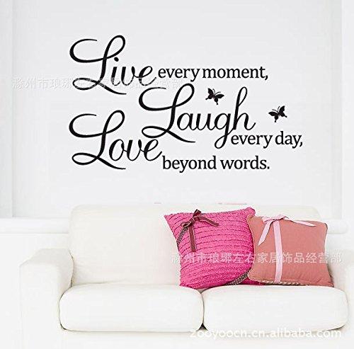CAFA Live Laugh Love Englisch Schmetterling Spr¨¹che Wasserdichte Wandtattoo
