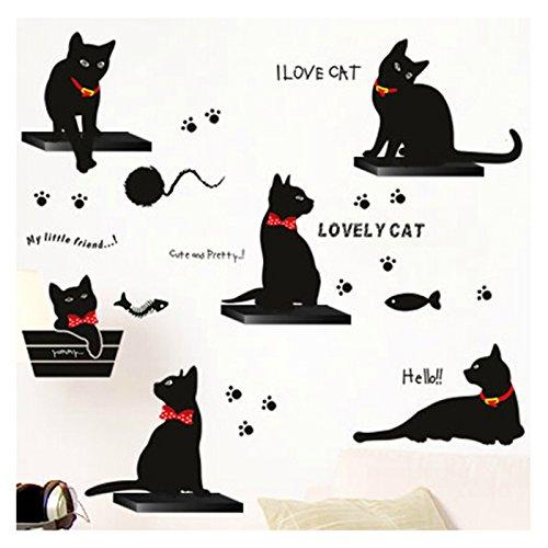 Schwarze Katze Familie Wandtattoo Wandaufkleber Wandsticker Wandbilder für Schlafzimmer und Wohnzimmer