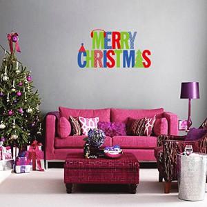Anself frohe Weihnachten abnehmbar Wandsticker Kunst-Abziehbilder Wandmalerei DIY Tapete für Zimmer Abziehbild 64 * 57cm