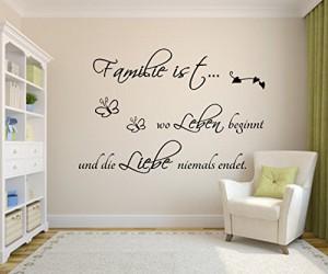 Familie ist wo Leben beginnt und die Liebe niemals endet..101cm x 54cm Wandtattoo,Spruch Zitat,Wohnzimmer,Flur,Kinderzimmer,Schlafzimmer,Wandsticker
