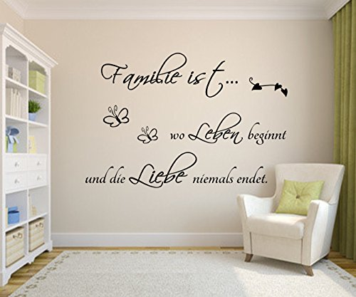 familie ist wo leben beginnt und die liebe niemals endet 101cm x 54cm wandtattoo spruch zitat. Black Bedroom Furniture Sets. Home Design Ideas