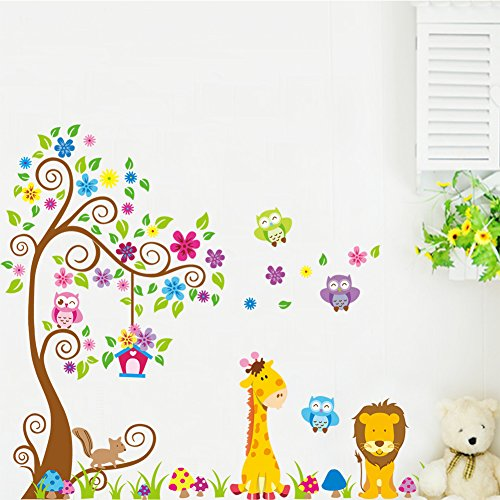 xl wandtattoo wandsticker eule baum giraffe l we kinderzimmer baby. Black Bedroom Furniture Sets. Home Design Ideas