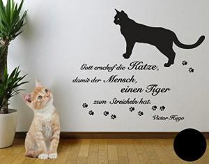 Klebefieber 3790 Wandtattoo Katzen Weisheit B x H: 60cm x 21cm Farbe: schwarz (erhältlich in 24 Farben und vielen Größen)