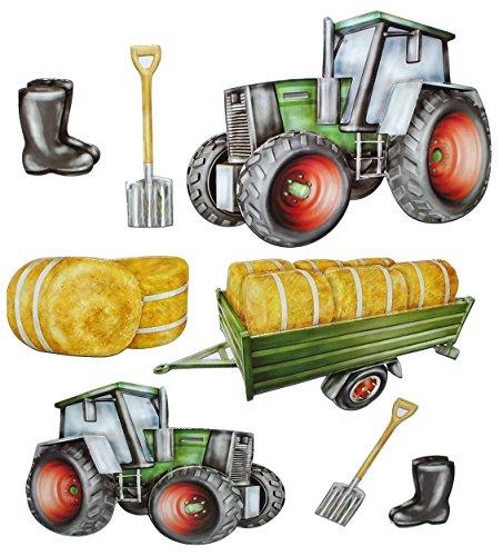 8 tlg. Set: 3-D ! Wandtattoo / XL Sticker aus Pappe - Traktor Bauernhof - selbstklebend Aufkleber / Wandsticker Auto Traktoren Landmaschine auch als Fenstersticker - Wandaufkleber - für Kinder Kinderzimmer Mädchen Jungen
