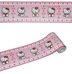 5 m Bordüre / Wandtattoo - selbstklebend - Hello Kitty - Wandsticker Aufkleber Kinderzimmer - für Mädchen Katze Borte Wandbordüre Tapetenbordüre - Kinder