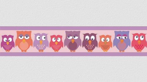 Wandtattooshop Bordüre selbstklebend für Wände und Möbel – Eulen – rosa / lila