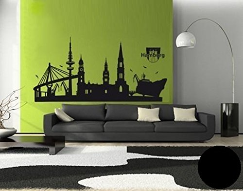 Wandtattoo Hamburg-Skyline ( Größe: 100cm x 48cm - Farbe: schwarz ) Motiv-Nr: 1334