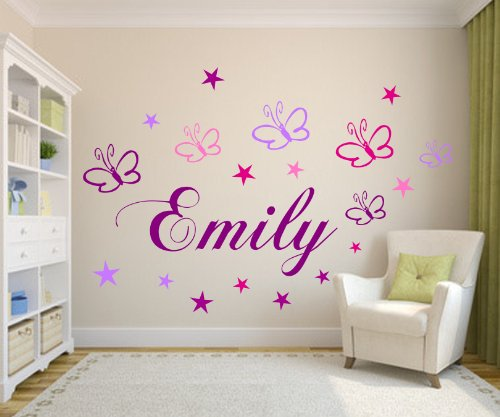 wunsch namen mitschmetterlingen sternen wand spruch wandtattoo set kinderzimmer baby. Black Bedroom Furniture Sets. Home Design Ideas