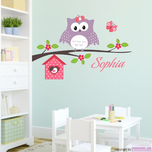 wandtattoo kinderzimmer happy eule name wandsticker. Black Bedroom Furniture Sets. Home Design Ideas