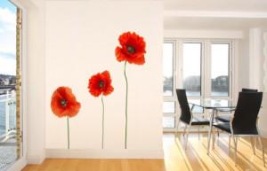 wandsticker mohnblume nr 204 bunte wandaufkleber wandgestaltung deko. Black Bedroom Furniture Sets. Home Design Ideas