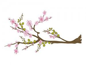 Wandsticker Sticker Aufkleber Blume für Wohnzimmer Blüten Ast Baum Blätter (Größe=53x30cm)