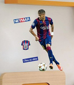 5 tlg. Set: Wandtattoo / Sticker - Neymar da Silva Santos Junior - Wandsticker - Fußballer / Fussballspieler - Aufkleber Wandaufkleber - selbstklebend Poster - Postersticker Fussballer Brasilien - Männer Jungen Kinder - Fußballstar Weltstar - Sport