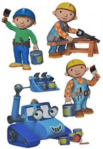 4 tlg. Set: Wandtattoo / Sticker - Bob der Baumeister - Wandsticker Aufkleber für Kinderzimmer - Jungen Baustelle Wendy Baggi Kinder - Wandaufkleber + Fenstersticker