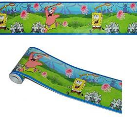 5 m Bordüre / Wandtattoo - selbstklebend - Spongebob Patrick Seestern - Wandsticker Aufkleber Kinderzimmer - für Mädchen Jungen Borte Wandbordüre Tapetenbordüre - Kinder