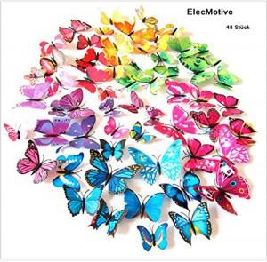 ElecMotive® 48 tlg 3D Wandtattoo Wand Aufkleber Schmetterlinge im 3D-Style Wanddekoration mit Klebepunkten zur Fixierung (Klebepunkten+ Magnet) 48 Stück (12pc Gelb+12pc Grün+12 Blau+12 Lila)