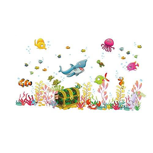 Songmics DIY Wandsticker Unterwasserwelt Schatz Fische Ozean für Kinderzimmer 122*68cm FWT19M