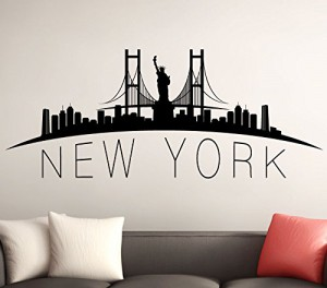 wandtattoo skyline new york wandaufkleber wandsticker schwarz bxh 80 x 32 cm. Black Bedroom Furniture Sets. Home Design Ideas