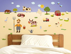 wandsticker kinderzimmer bauernhof wandtattoo tiere. Black Bedroom Furniture Sets. Home Design Ideas